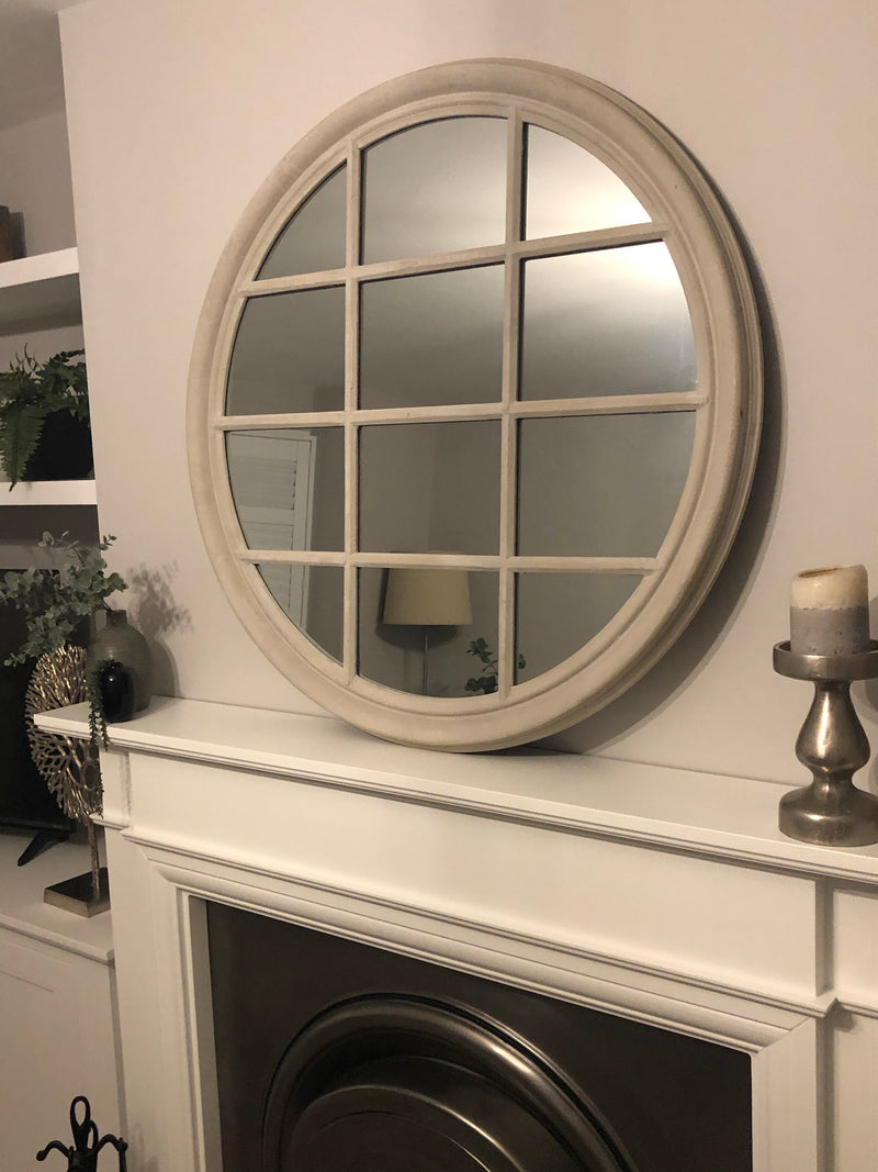 Store seconds Tall slim pale grey shaped mirror 160x40