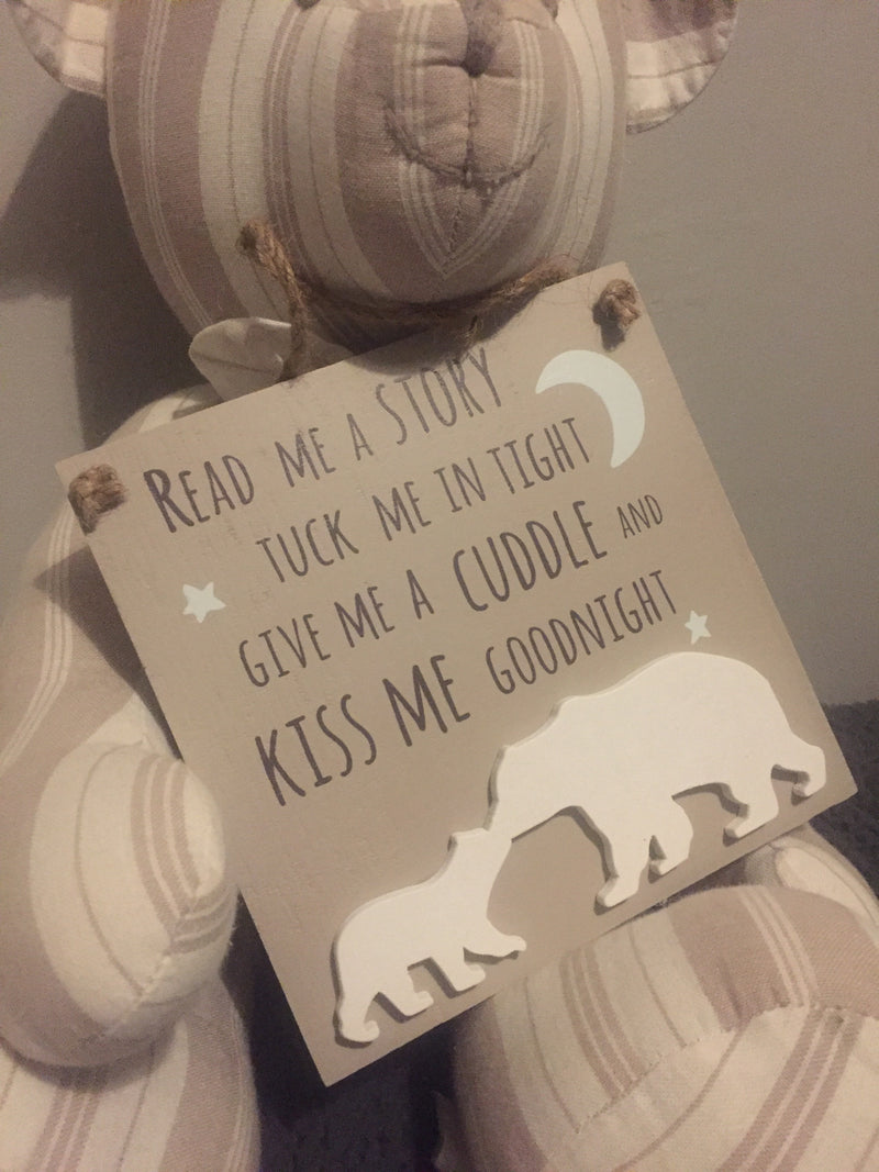 Kiss Me Goodnight Bear Plaque