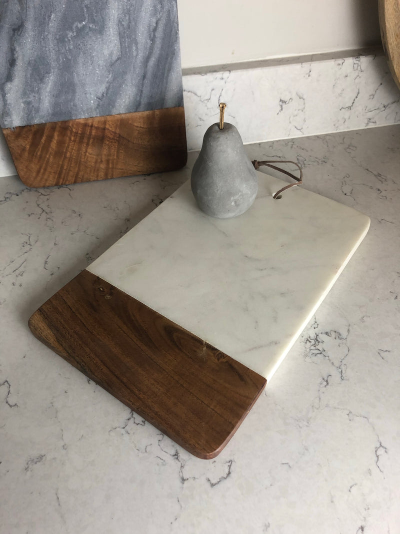 Grey marble and wood chopping board