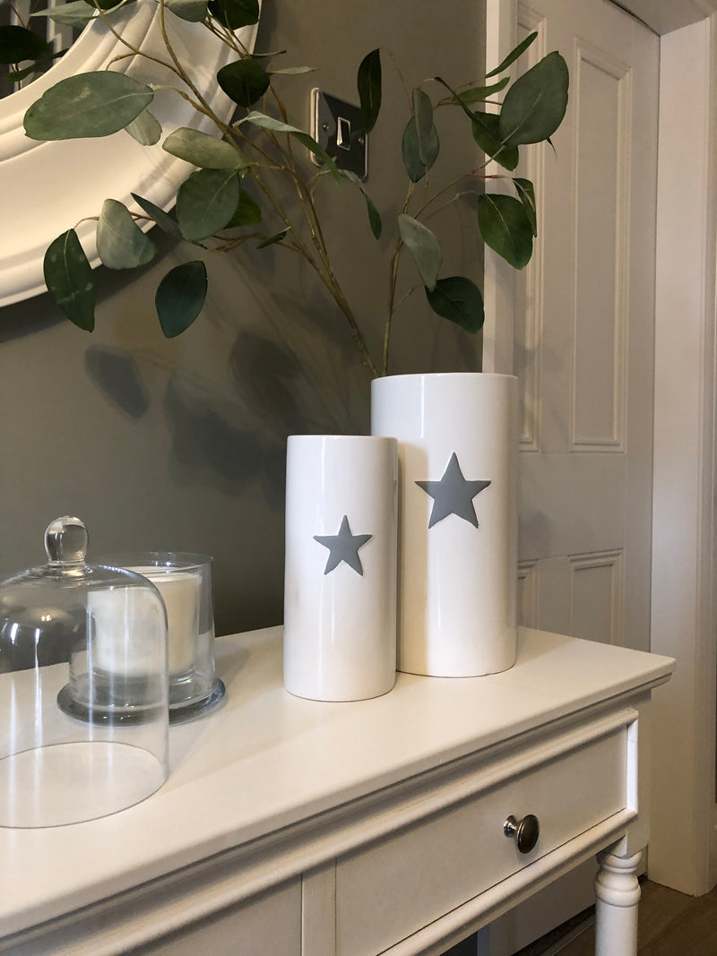 Medium white ceramic vase with grey star