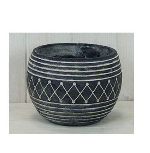 Large chunky black Aztec plant pot