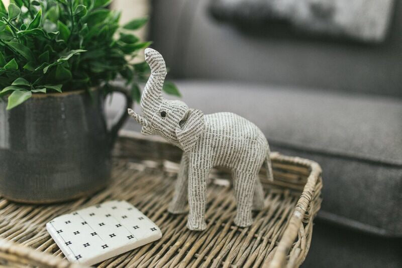 Handmade Newsprint Elephant