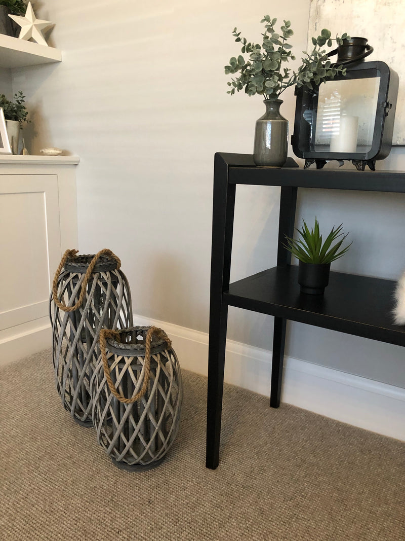 Chunky large woven lantern with rope handle 34cm