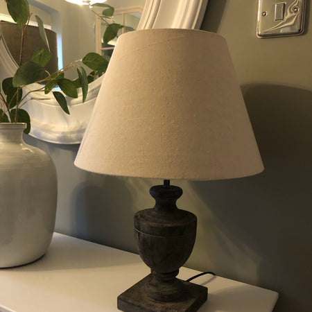 Incia chunky urn wooden table lamp with shade