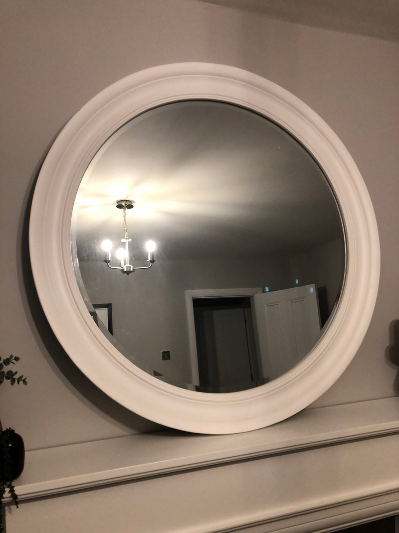 White simple framed round large mirror 96cm