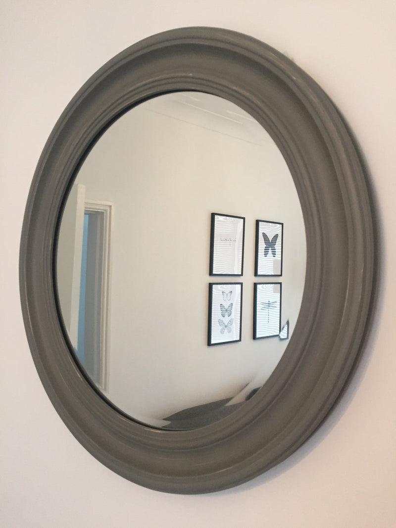 Medium Grey Simple Round Mirror (64cm)