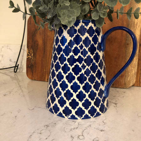 Large Blue and Off White ceramic jug