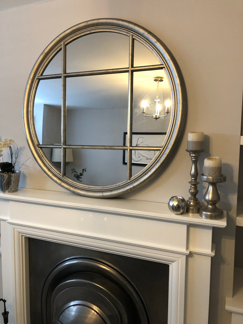 Silver round window mirror 100cm