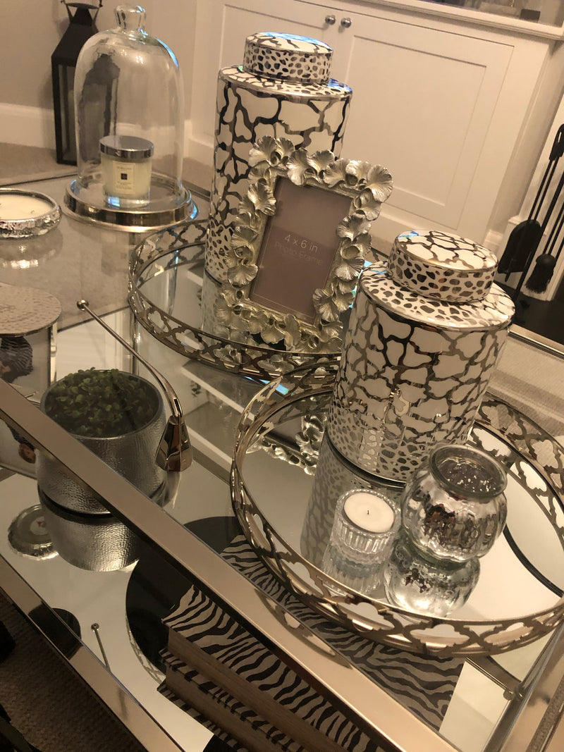 Medium round chrome geo mirrored tray