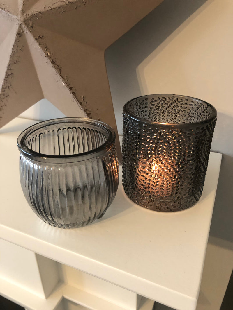 Grey ribbed glass round candle holder