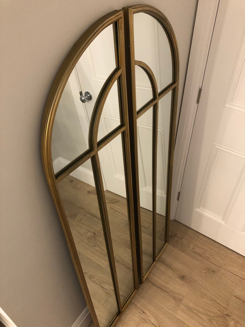 Gold arched window mirror two part
