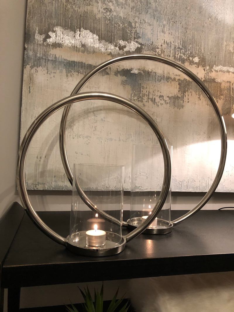 Medium round chrome nickel candle holder
