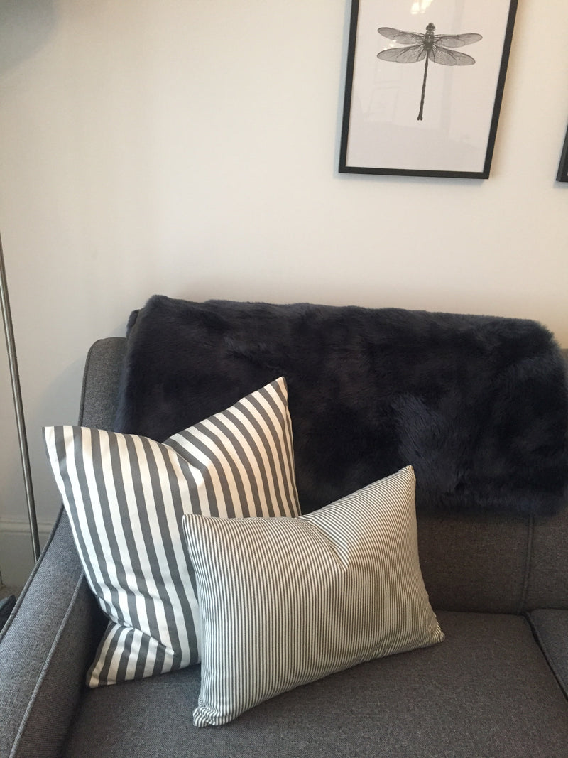 Antique grey stripe linen cushion