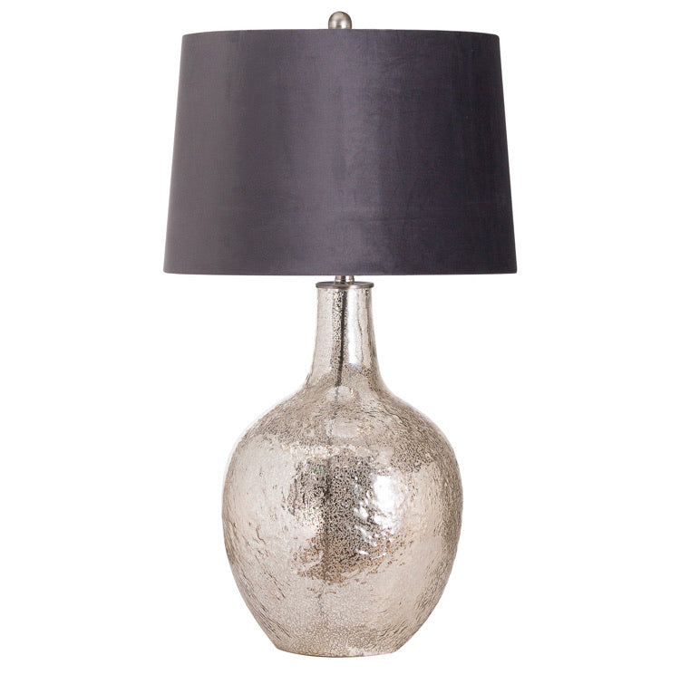 Harmony glass table lamp with velvet shade