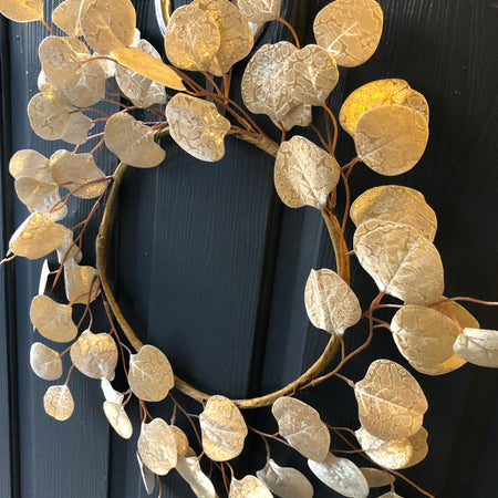 Gold eucalyptus round wreath