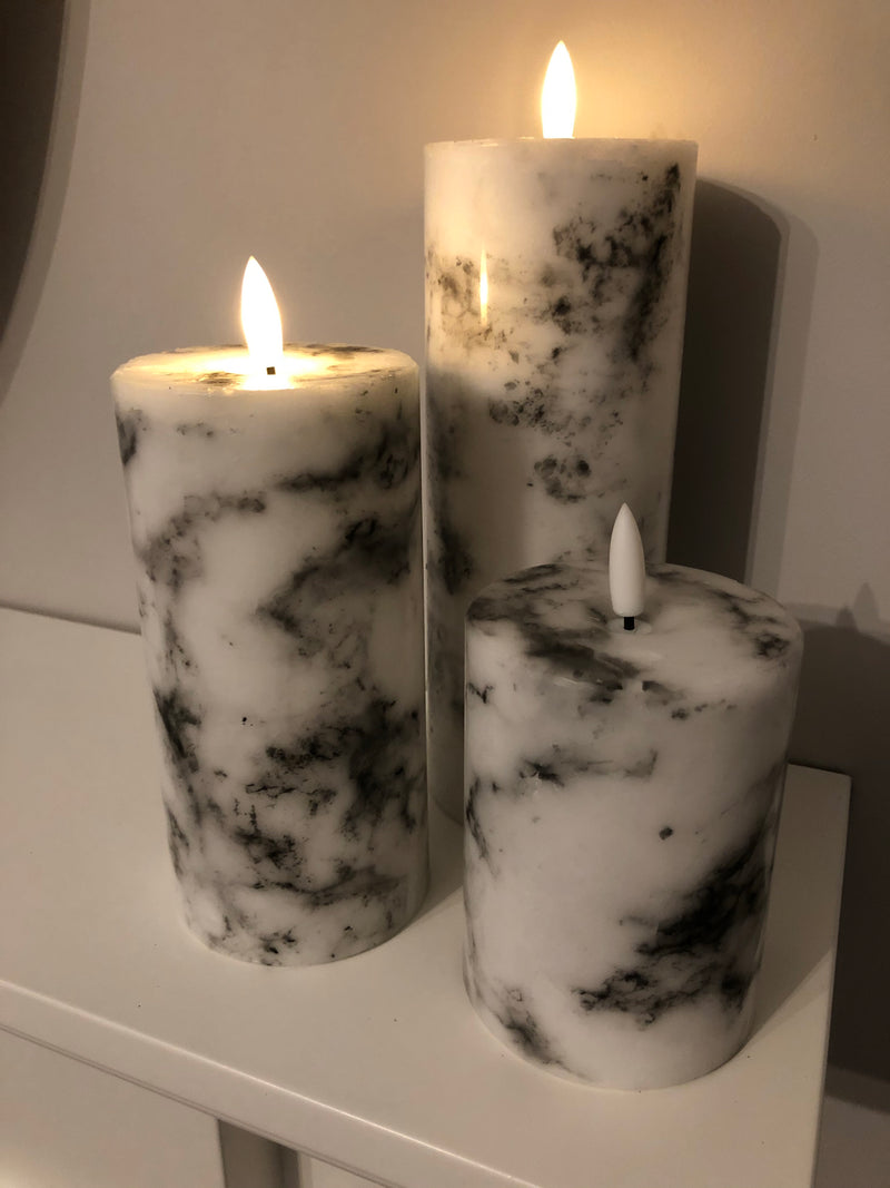 Luxe LED marble candle 10cm by 7cm