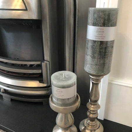 Grey fresh linen scented pillar candle 20cm