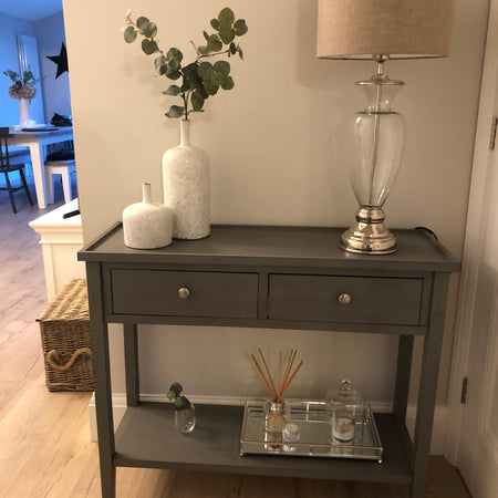 Store seconds Grey two drawer console with shelf