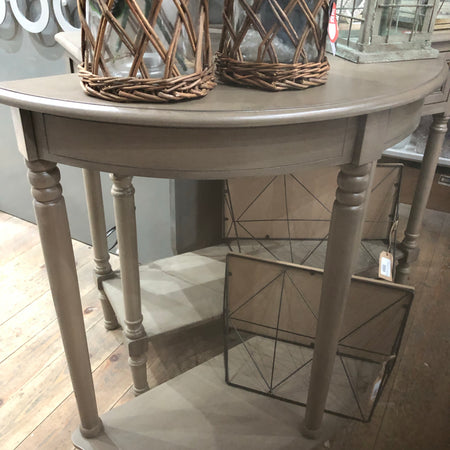 Taupe half moon table