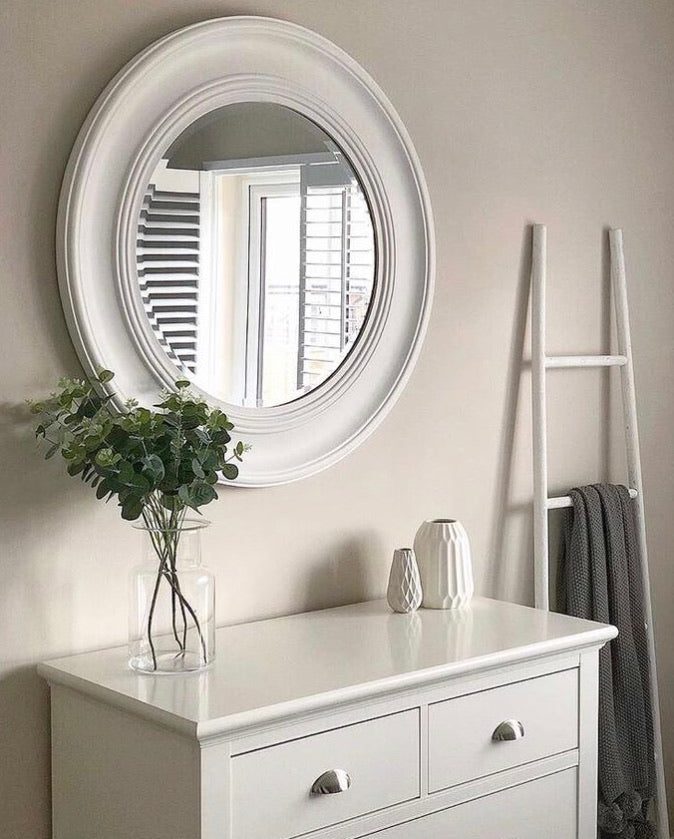 Large off White Round Mirror 90cm