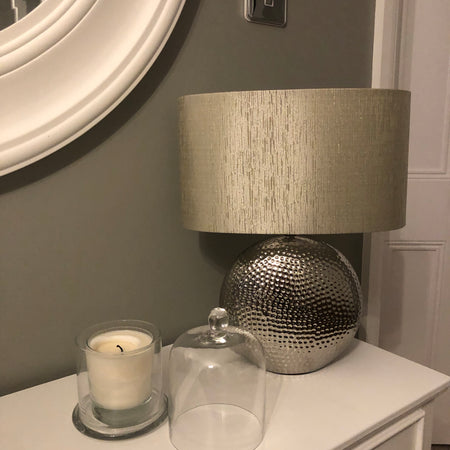 Hammered Silver Lamp with shade