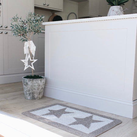 Taupe double star door mat rug 80x50