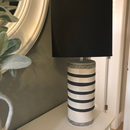 Black and white stripe base lamp black shade