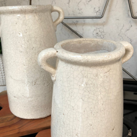 Ravello crackle glaze vase jar medium