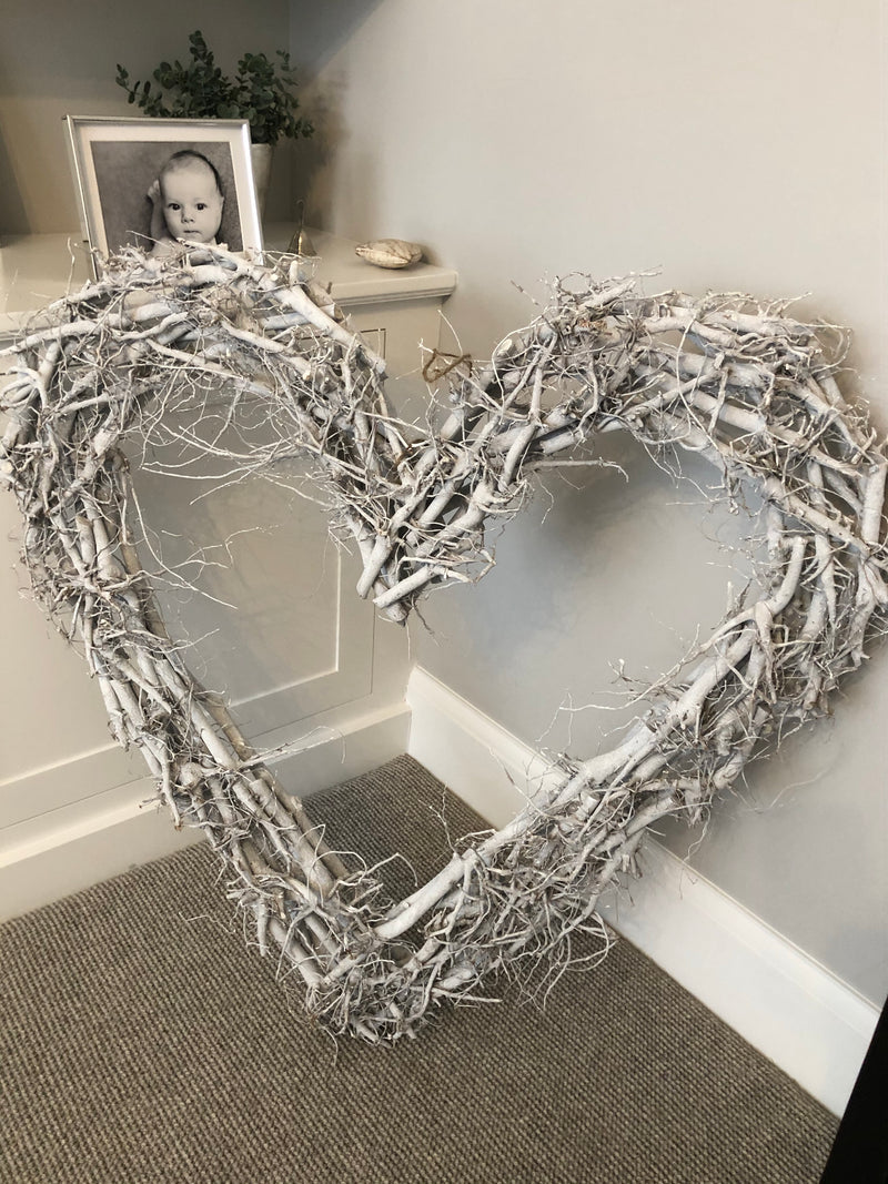 Huge grey wash twig heart