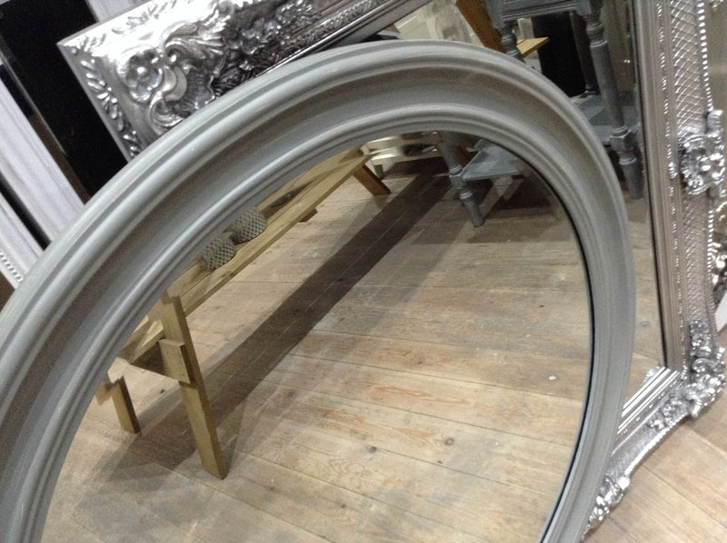 Large Grey Simple Round Mirror (74cm)