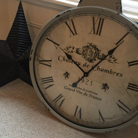 Grey distressed french style clock Chateau