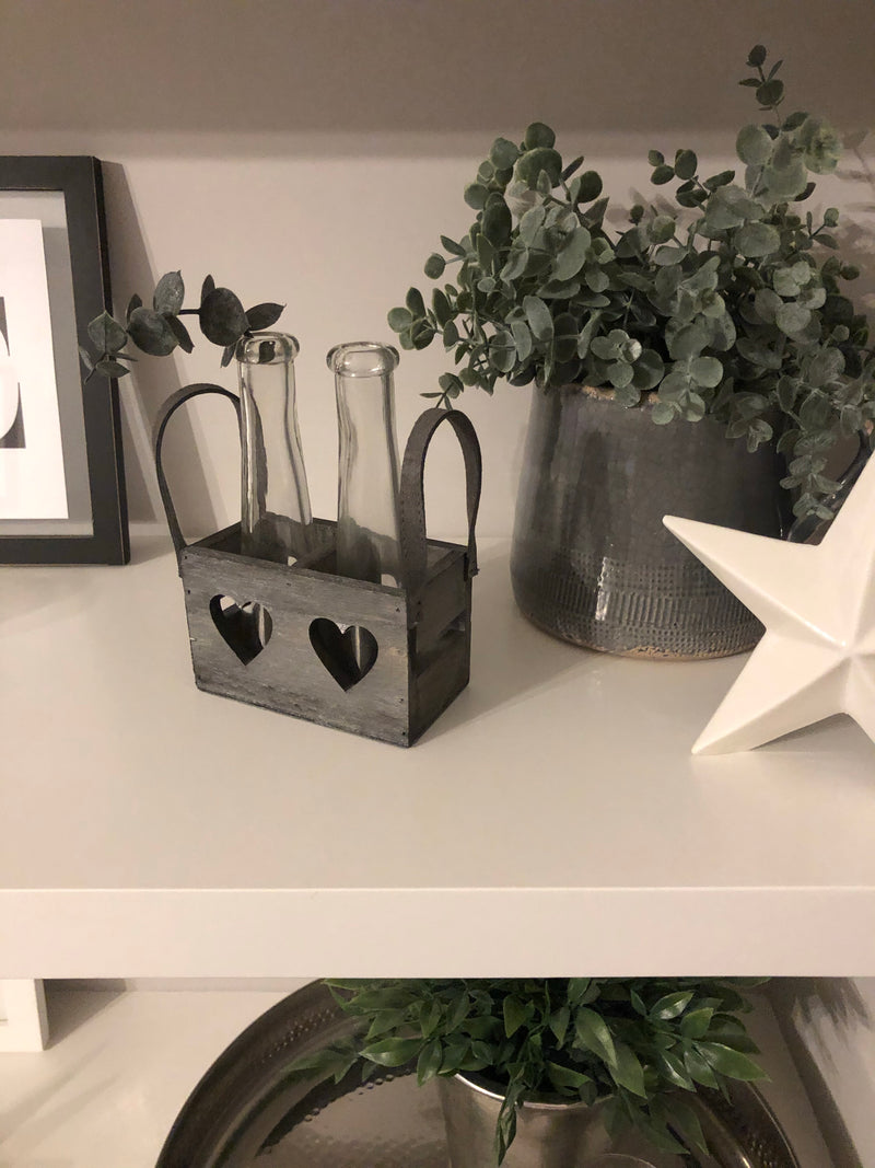 Double vases in wooden heart tray