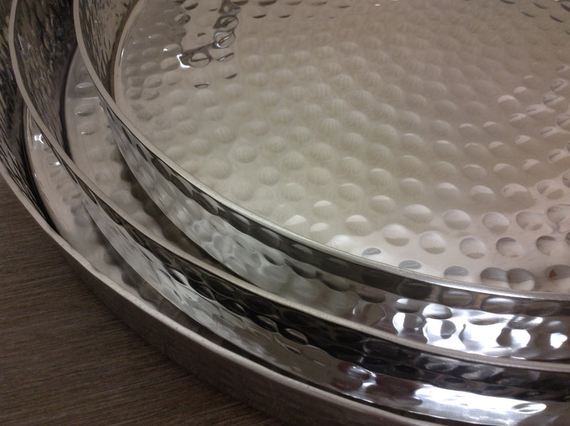 Large round hammered tray