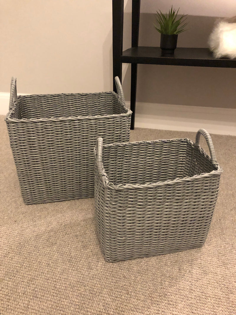 Small grey woven basket
