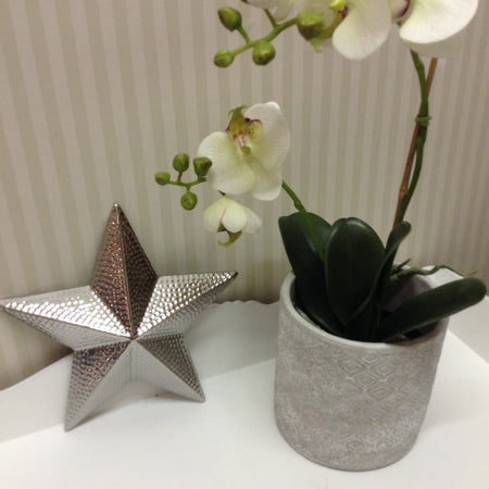 3D Ceramic Hammered Silver Star Ornament