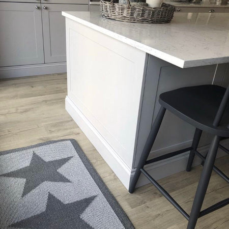 Long grey star runner rug mat 67cm by 200cm