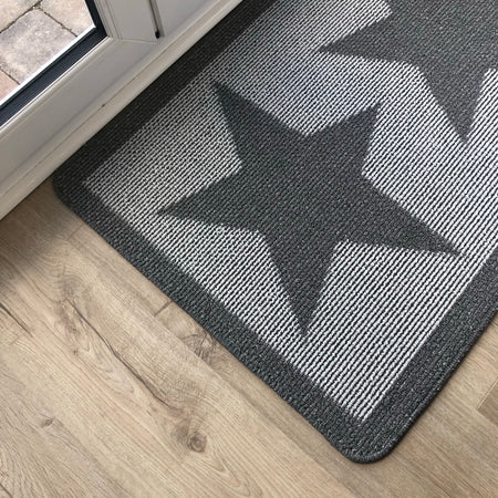 Grey Star Indoor door Mat rug 67cm by 100cm