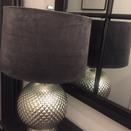 Bulbous textured silver lamp