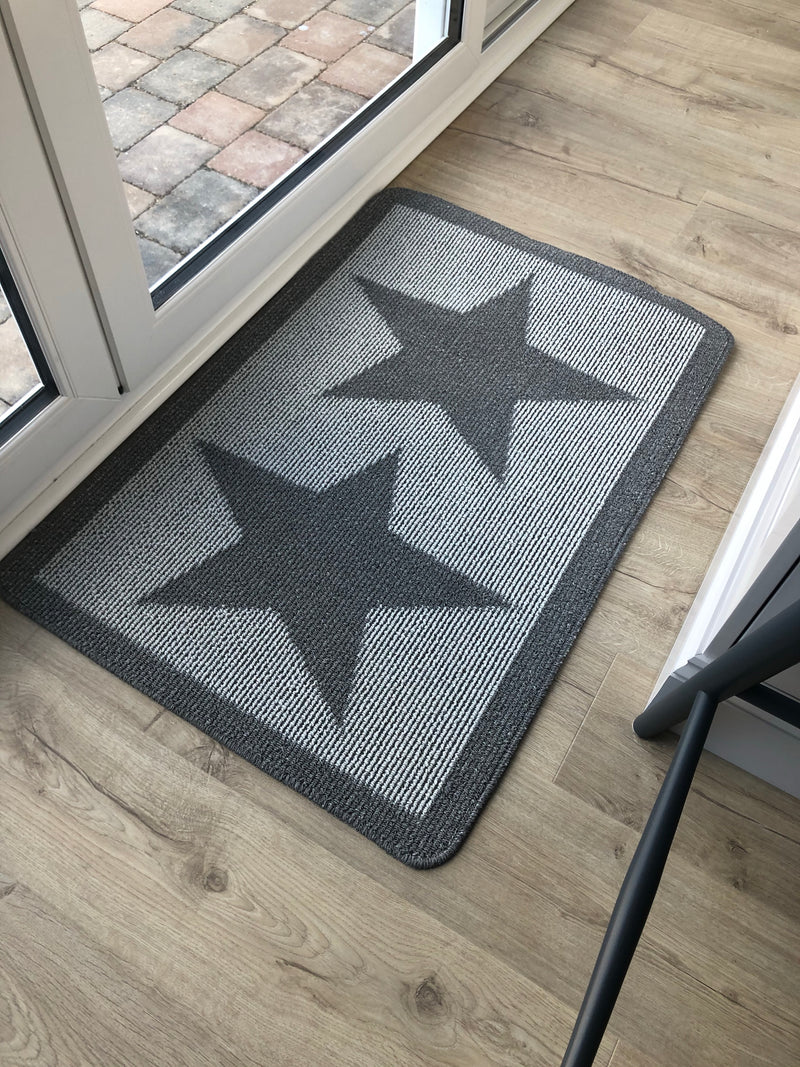 Large Grey Star Indoor door Mat rug 67cm by 100cm