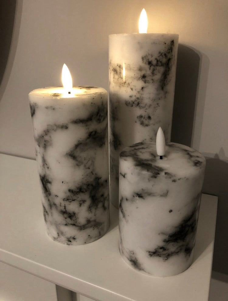Luxe marble LED wax candle 23cm by 7cm
