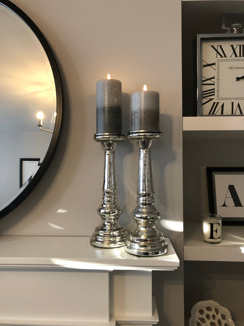 Pair of Mercury glass candle holders