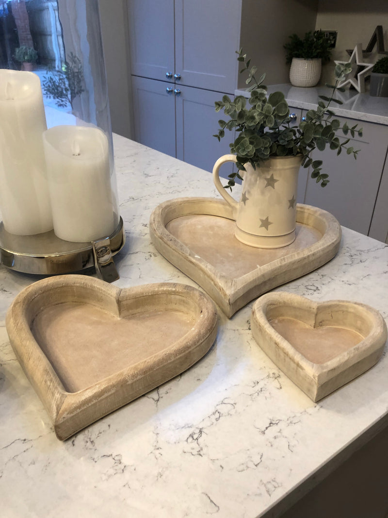 Large wooden heart tray