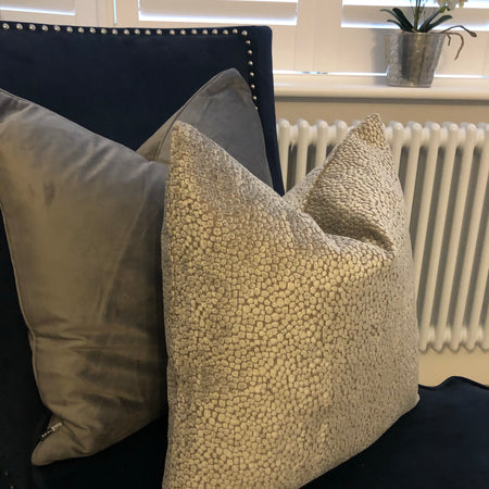 Textured silver and grey cushion 45cm