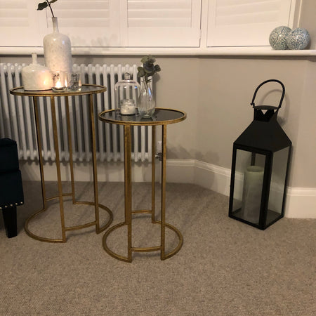 Large black and gold lamp table