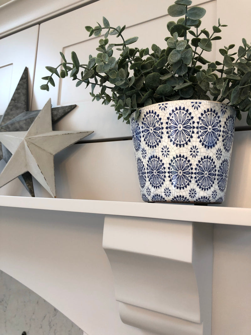 White star cement medium planter