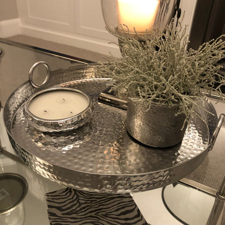 Small round hammered tray