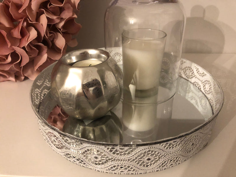 Large metal round candle tray off white