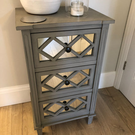Three drawer grey side table