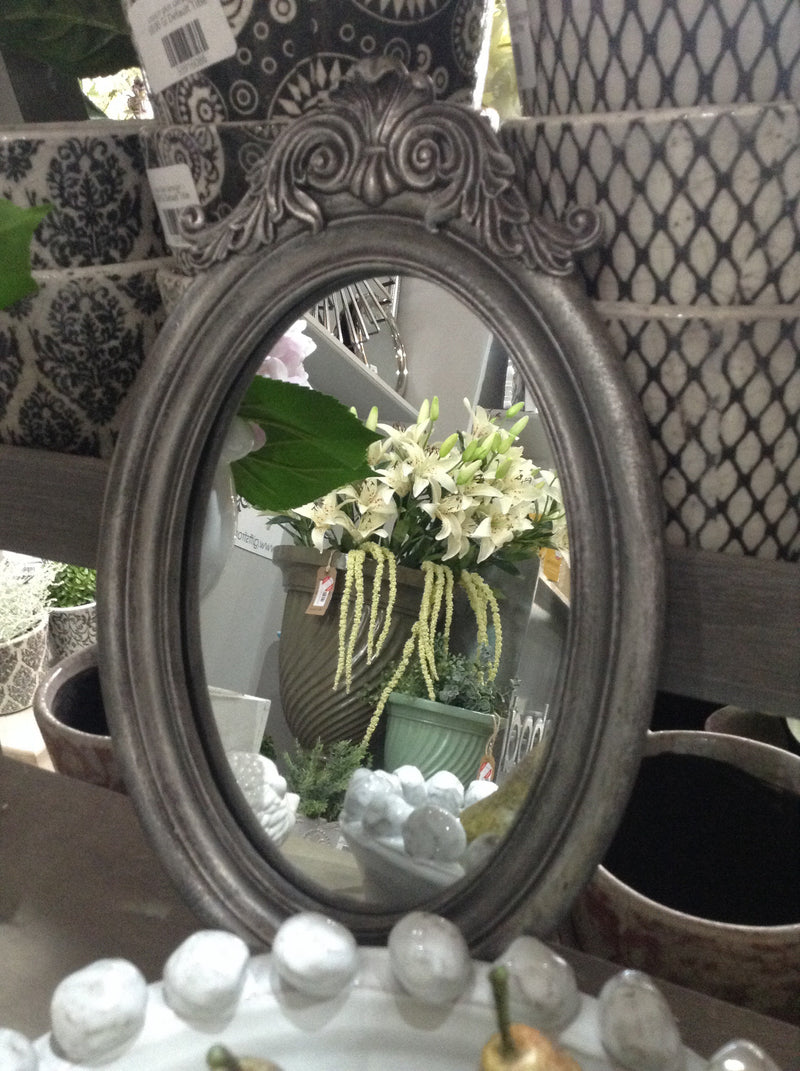 Silver decorative framed mirror