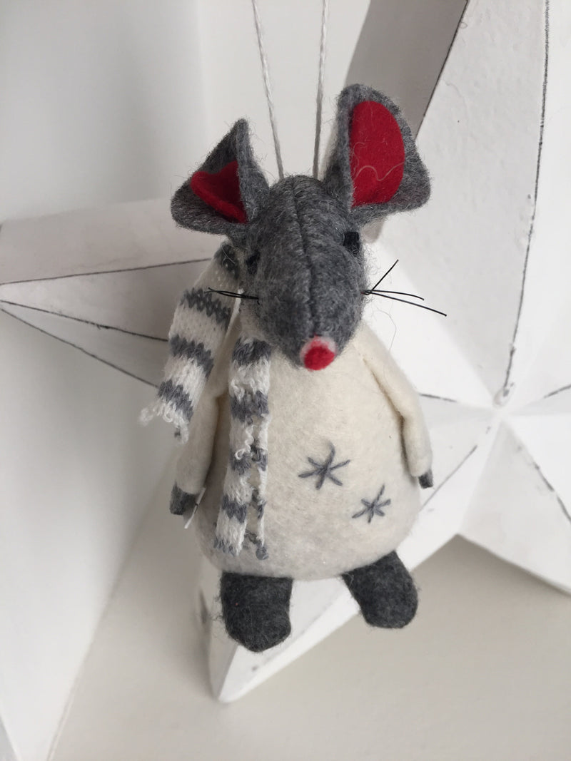 Grey star festive mouse